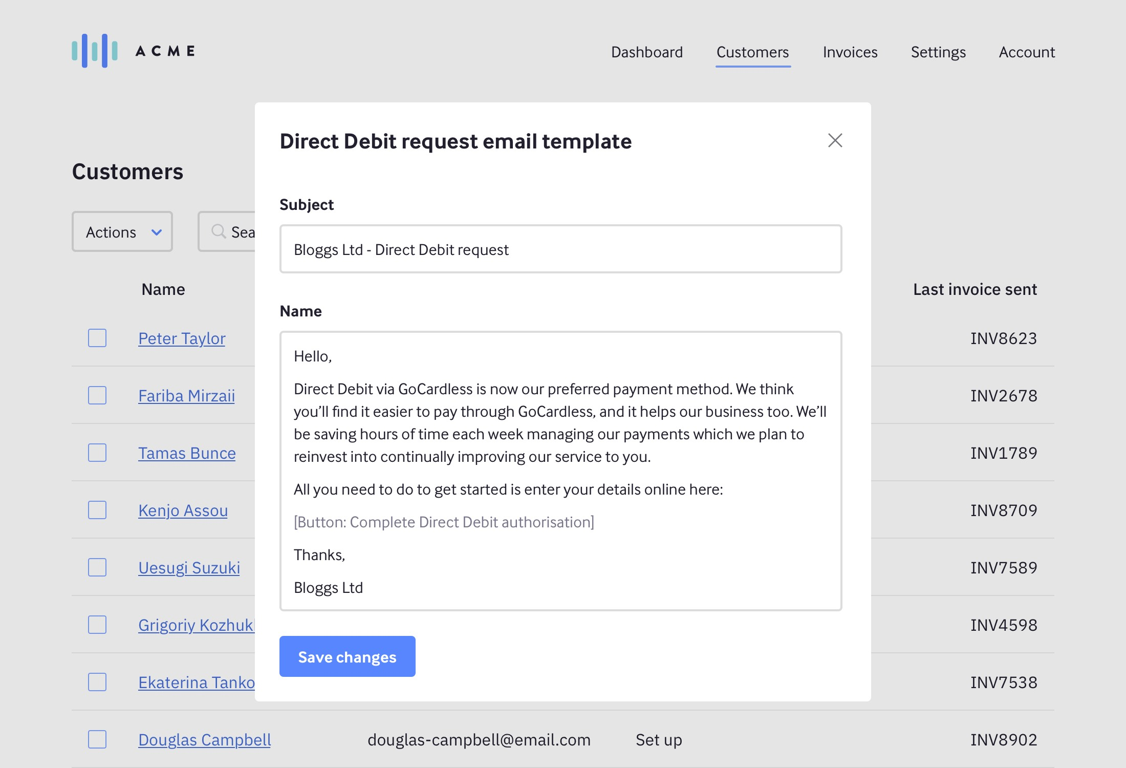 Modal with email template settings