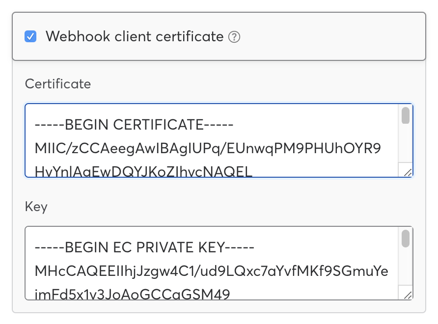 Adding a client certificate to your webhook endpoint